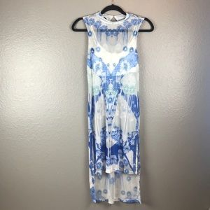 Bebe cover up dress sheer,  white and blue.